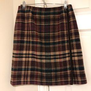 TALBOTS Petite Plaid Wool Blend Skirt